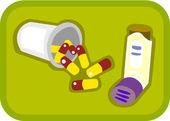 Ilustración de píldoras y globo — Foto de Stock