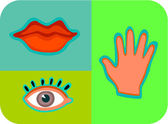 Illustration of the senses of touch, taste, and sight — Stock Photo