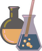 Illustration of chemicals in beakers — Stock Photo
