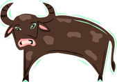 Illustration of a brown ox — Stock Photo
