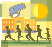Children running, school and whistle montage — Stock Photo