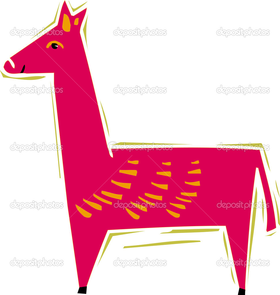 Illustration of a pink llama — Stock Photo #12174646