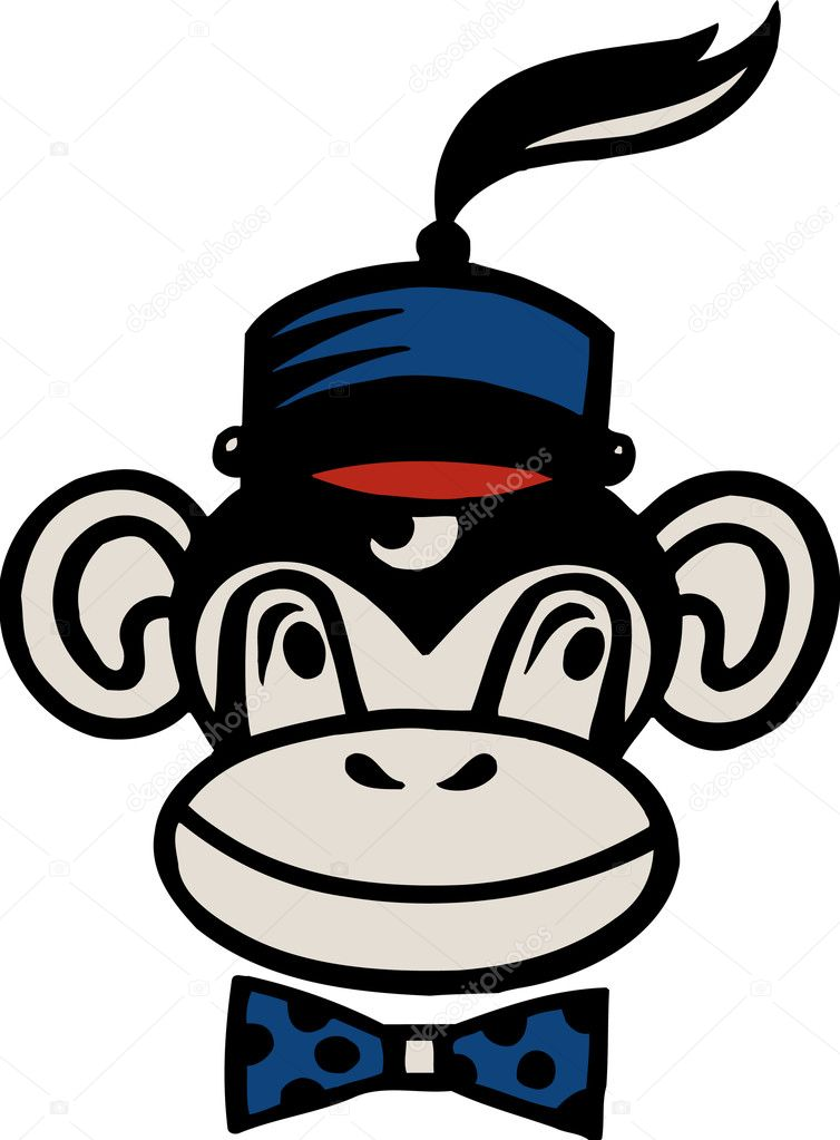 Drawing of a monkey wearing a hat — Stock Photo #12174875