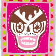 A skull with brown hair on pink background - Foto Stock