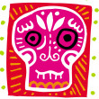 An illustration of a pink skull with border - Foto Stock