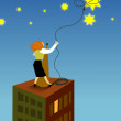 A businesswoman lassoing a star from the sky - Stock Photo