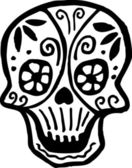 A skull with flowers drawn in black and white — Stock Photo