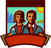 Illustration of a businessman and a businesswoman — Photo