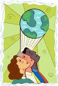 Illustratie van drie kijken naar een globe — Stockfoto