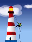 A businessman rope climbing a light house — Stock Photo