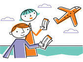 Two holding cheap tickets and looking at departing plane — Stock Photo