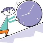 Man pushing clock uphill — Stock Photo
