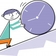 Stock Photo: Mpushing clock uphill