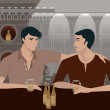 Two men having a drink at a bar - Stock Photo