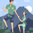 A couple hiking - Stock Photo