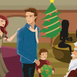 A family seeing Santa at Christmas time — Stock Photo #12410703