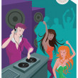 A DJ playing music and two women dancing — Stock Photo