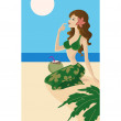 A woman in bathers with a coconut cocktail on the beach — Stock Photo
