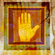 A framed palm of a human hand against a distressed background — Stock Photo