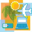 Collage of a palm tree a laptop computer a cell phone an airplane and a sun — Stock Photo