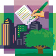 Stock Photo: Montage of tree high-rise buildings and hand signing doc