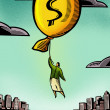 Stock Photo: Businesswomfloating by balloon with dollar sign