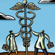 Two doctors touching a giant caduceus - Stock Photo