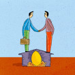 Two men shaking hands standing on house over nest egg — Stock Photo