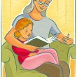 Stock Photo: Elderly womreading book with young girl