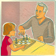 An elderly man playing chess with a young child — Stock Photo #12415618