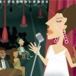 A woman singing in a night club with an audience — Foto de Stock