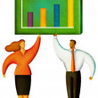 Illustration of two standing under a chart — Stock Photo