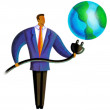 Illustration of a person putting a plug into the earth — Stock Photo #12417736