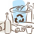 Stock Photo: Recycling of cans and bottles