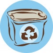 Stock Photo: Drawing of recycling box