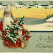 Vintage Christmas card of Santa Claus in a snowy winter scene — Stock Photo #12419070
