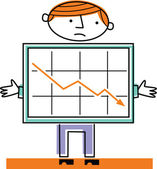 Man with decreasing draft — Stock Photo