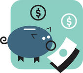 Piggy bank and money — Stockfoto