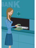 A woman taking cash from a bank — Foto Stock