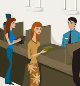 Two women at bank tellers — Stock Photo