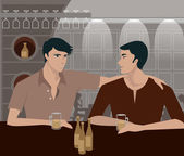 Two men having a drink at a bar — Stock Photo