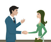 A man and woman shaking hands — Stock Photo