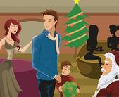 サンタ クリスマスの時に見て家族 — ストック写真