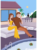 A couple sitting by a tropical pool — Stock Photo