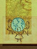 包围地球与地图作为背景的三个孩子 — 图库照片