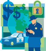 Collage of dollar signs an unlocked padlock a police officer writing a ticket the world and a police car — Stock Photo