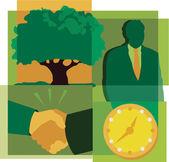 Bir adam, bir ağaç, saat ve bir el sıkışma bir montaj — Stok fotoğraf