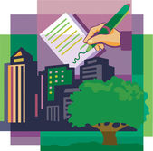 Montage of a tree high-rise buildings and a hand signing doc — Stock Photo