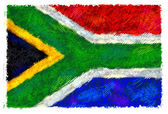 Drawing of the flag of South Africa — Foto Stock