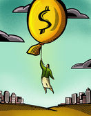 A businesswoman floating by a balloon with a dollar sign — Stock Photo